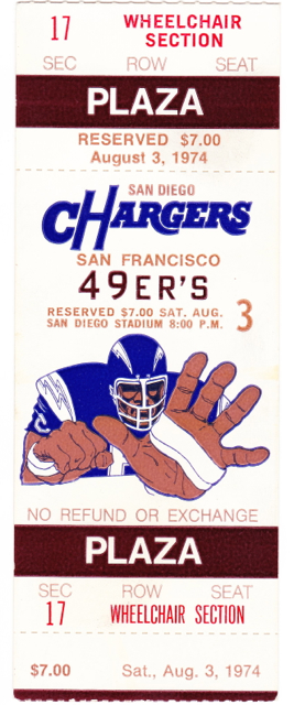 1974 49ers at Chargers stub