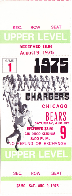 1975 Bears at Chargers stub