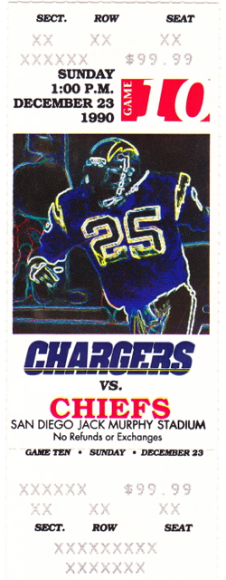1990 Chiefs at Chargers stub
