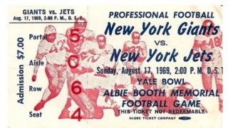 1969 Giants vs. Jets at Yale stub