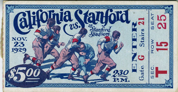 1929 NCAAF Cal at Stanford ticket stub