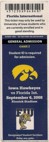 2008 NCAAF Florida international at Iowa stub