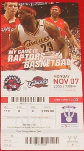 2006 NBA Cavaliers at Raptors stub