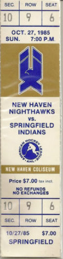 1985 AHL Springfield at New Haven stub
