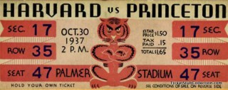 1937 NCAAF Harvard at Princeton stub