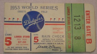 1953 World Series Game 5 Yankees at Dodgers ticket stub