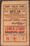 1924 NCAAF Army vs Notre Dame ticket stub