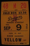 1965 Cubs at Dodgers Koufax Perfect Game