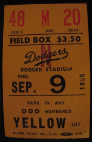 1965 Cubs at Dodgers Koufax Perfect Game stub