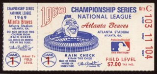 1969 NLCS Gm 1 Mets at Braves stub