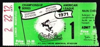 1971 ALCS gm 1 A's at Orioles stub