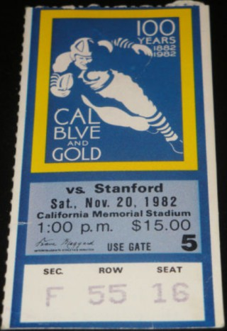 1982 Big Game Stanford at California stub