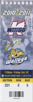 2010 ECHL Toledo Walleye ticket stub vs Kalamazoo