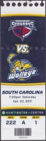 2011 ECHL Toledo Walleye ticket stub vs South Carolina