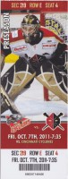 2011 ECHL Wheeling Nailers ticket vs Cincinnati Cyclones