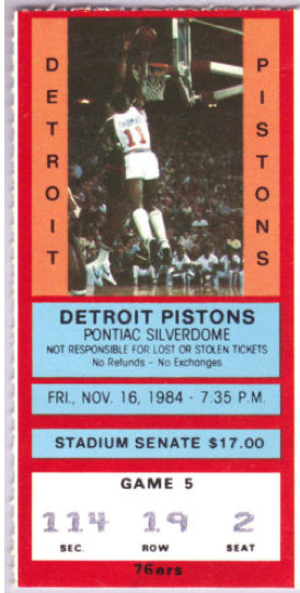 1984 76ers at Pistons stub