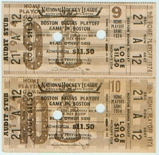 1974 NHL Stanley Cup Final Flyers at Bruins stub