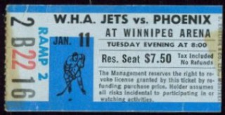 1976 WHA Roadrunners at Jets stub