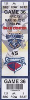 2012 ECHL Greenville Road Warriors ticket stub vs South Carolina