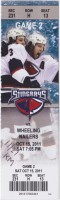 2011 ECHL South Carolina Stingrays ticket stub vs Wheeling