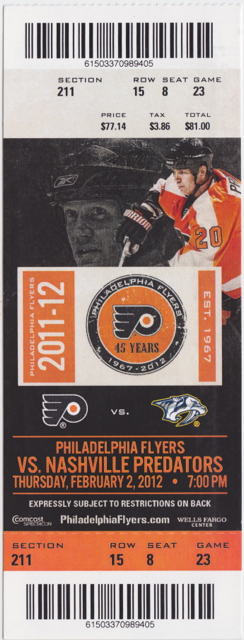 2012 Predators at Flyers stub