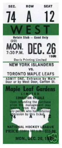 1988 Islanders at Maple Leafs stub