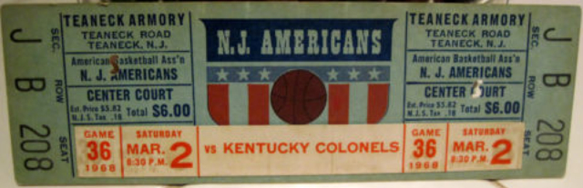 1968 ABA COLONELS AT AMERICANS stub