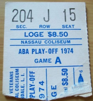 1974 ABA Playoffs Squires at Nets stub