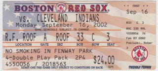 2002 Indians at Red Sox stub