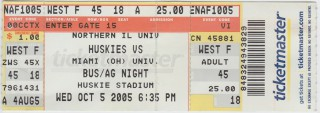 2005 NCAAF Miami of Ohio at Northern Iliinois stub