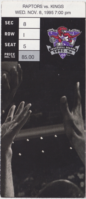 1995 Kings at Raptors stub