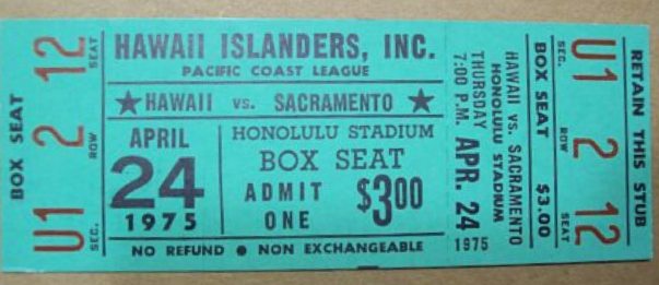 1975 PCL MiLB Solons at Islanders ticket stub