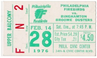 1976 NAHL Broome Dusters at Firebirds stub