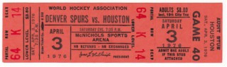 1976 WHA Areos at Spurs stub