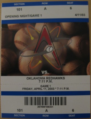 2003 MiLB PCL Redhawks at Isotopes stub