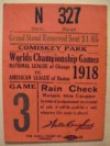 1918 World Series Game 3 Ticket Stub Red Sox at Cubs