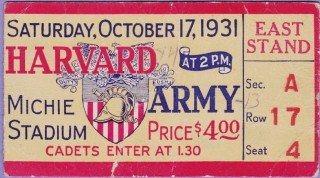 1931 NCAAF Harvard at Army ticket stub