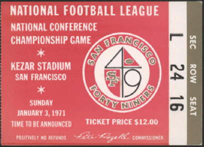 1971 NFC Championship Cowboys at 49ers  stub