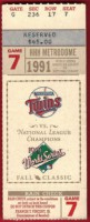 1991 World Series Game 7 ticket stub Braves at Twins