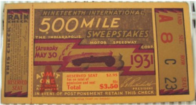 1931 Indianapolis 500 ticket stub