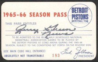 1965 Pistons Season Pass stub