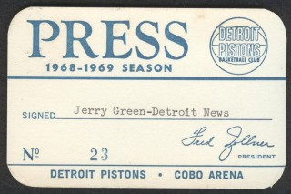 1968 Pistons Season Pass stub