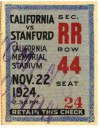 1924 Big Game Ticket Stub Stanford at California