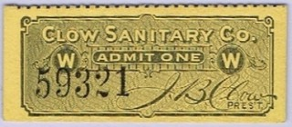 1893 Clow Sanitary Chicago Worlds Fair stub