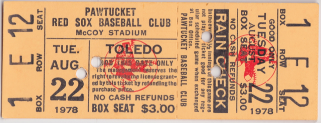 1978 Int'l League Mud Hens at Red Sox stub