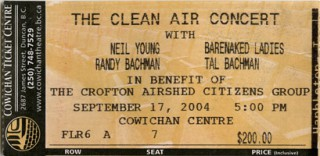 2004 Neil Young Clean Air Concert stub