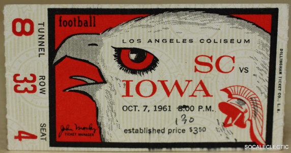 1961 NCAAF Iowa at USC ticket stub