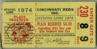 1974 Braves at Reds Aaron's 714th HR stub