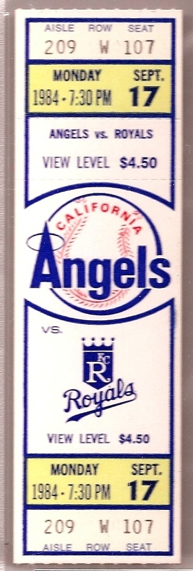 1984 Royals at Angels Reggie Jackson's 500th HR stub