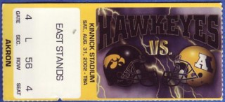 2002 NCAAF Akron at Iowa stub